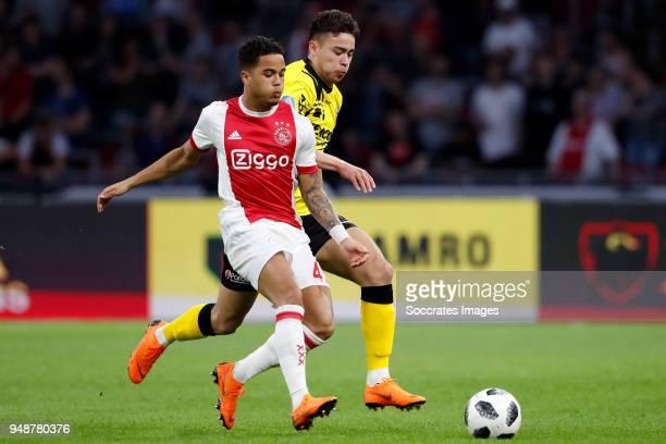 Justin Kluivert of Ajax Tristan Dekker of VVV Venlo during the Dutch Eredivisie match between Ajax v VVVVenlo at the Johan Cruijff Arena on April 19...