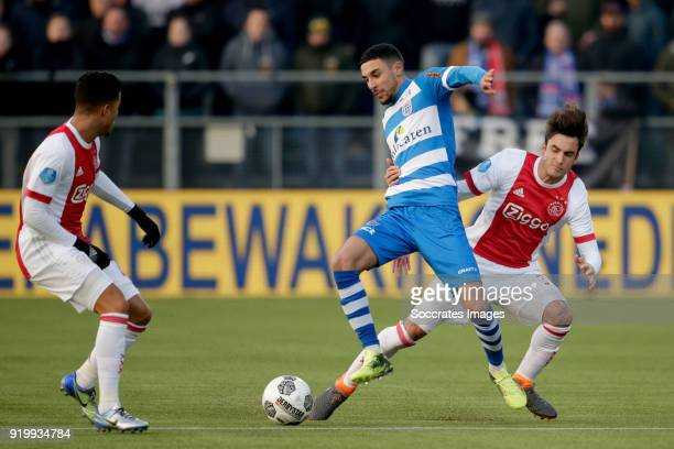 Justin Kluivert of Ajax Younes Namli of PEC Zwolle Nicolas Tagliafico of Ajax during the Dutch Eredivisie match between PEC Zwolle v Ajax at the...