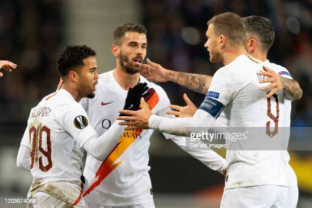 Justin Kluivert of AS Roma celebrates after scoring his team's first goal during the UEFA Europa League round of 32 second leg match between KAA Gent...