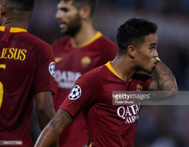 Justin Kluivert of AS Roma celebrates after scoring the team's fourth goal during the Group G match of the UEFA Champions League between AS Roma and...