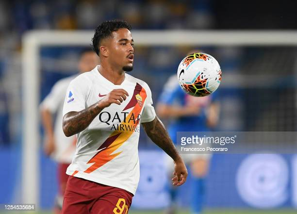Justin Kluivert of AS Roma during the Serie A match between SSC Napoli and AS Roma at Stadio San Paolo on July 05, 2020 in Naples, Italy.