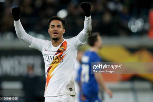 Justin Kluivert of AS Roma during the UEFA Europa League match between Gent v AS Roma at the Ghelamco Arena on February 27, 2020 in Gent Belgium