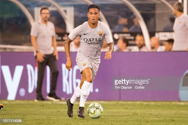 Justin Kluivert of AS Roma in action during the Real Madrid vs AS Roma International Champions Cup match at MetLife Stadium on August 7 2018 in...