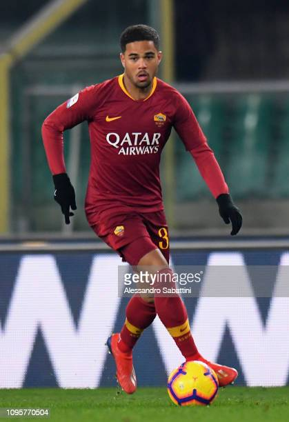 Justin Kluivert of AS Roma in action during the Serie A match between Chievo Verona and AS Roma at Stadio Marc'Antonio Bentegodi on February 8 2019...