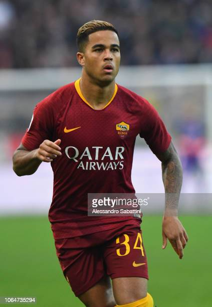 Justin Kluivert of AS Roma looks on during the Serie A match between Udinese and AS Roma at Stadio Friuli on November 24 2018 in Udine Italy