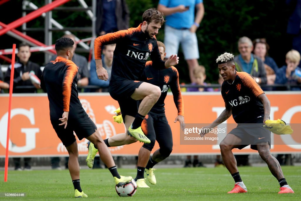 Justin Kluivert of Holland, Quincy Promes of Holland, Patrick van Aanholt of Holland during the Training Holland at the KNVB Campus on September 3, 2018 in Zeist Netherlands