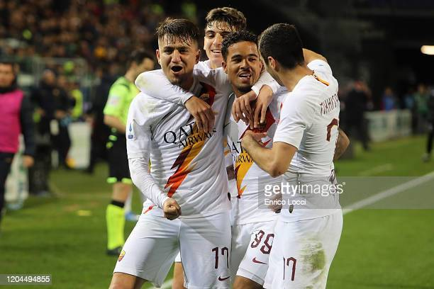 Justin Kluivert of Roma celebrates his goal 13 during the Serie A match between Cagliari Calcio and AS Roma at Sardegna Arena on March 1 2020 in...