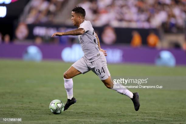 Justin Kluivert of Roma runs the ball down the pitch during the second half of the International Champions Cup match at MetLife Stadium on August 7...