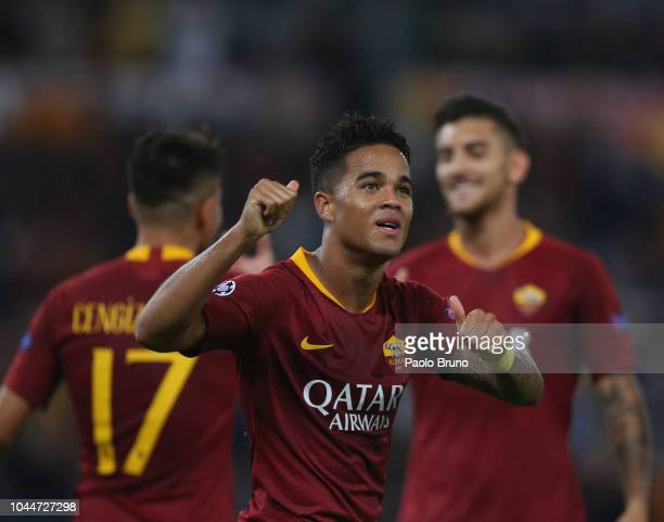 Justin Kluivert with his teammates of AS Roma celebrates after scoring the team's fourth goal during the Group G match of the UEFA Champions League...