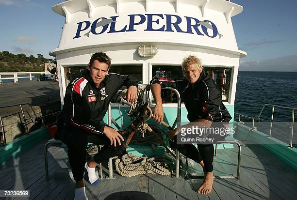 Justin Koschitzke and Nick Riewoldt of the Saints pose for a photo before heading off to Swim with the Dolphins in Port Phillip Bay whilst on the St...