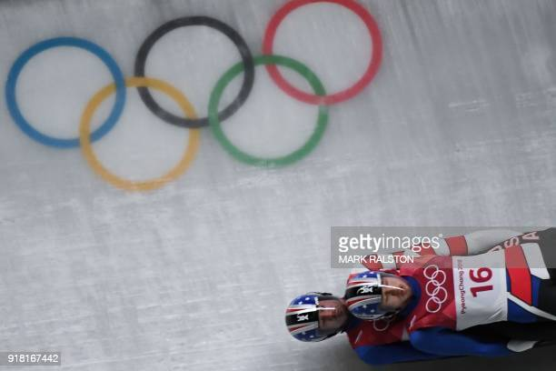 Justin Krewson and Andrew Sherk compete in the doubles luge run 1 during the Pyeongchang 2018 Winter Olympic Games at the Olympic Sliding Centre on...