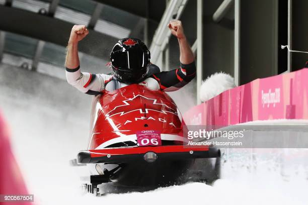 Justin Kripps and Alexander Kopacz of Canada celebrate as they win joint gold during the Men's 2Man Bobsleigh on day 10 of the PyeongChang 2018...