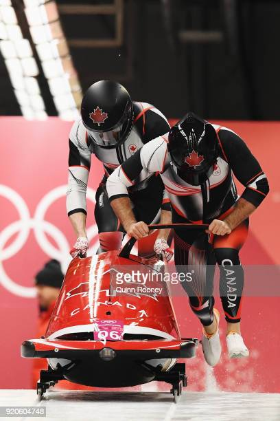 Justin Kripps and Alexander Kopacz of Canada make their final run during the Men's 2Man Bobsleigh on day 10 of the PyeongChang 2018 Winter Olympic...
