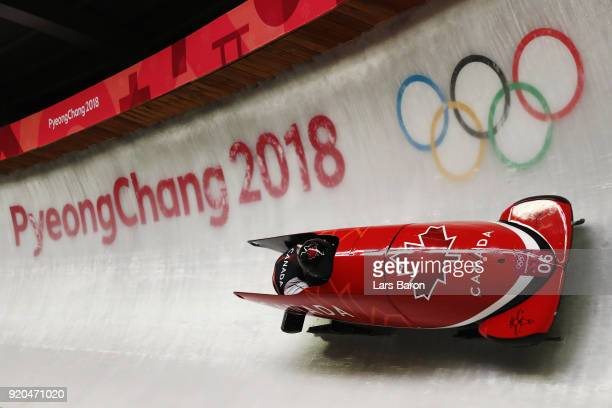 Justin Kripps and Alexander Kopacz of Canada slide during the Men's 2Man Bobsleigh on day 10 of the PyeongChang 2018 Winter Olympic Games at Olympic...