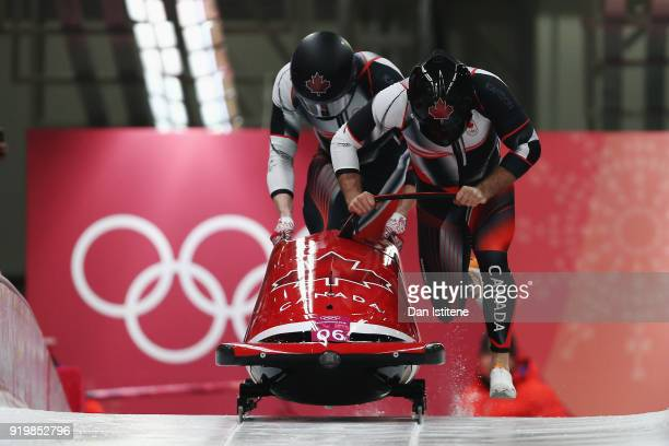 Justin Kripps and Alexander Kopacz of Canada slide during twoman Bobsleigh heats on day nine of the PyeongChang 2018 Winter Olympic Games at Olympic...