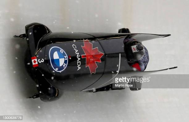 Justin Kripps and Cam Stones of Canada compete during the IBSF World Championships 2021 Altenberg 2-Man Bobsleigh competition at the Eiskanal...