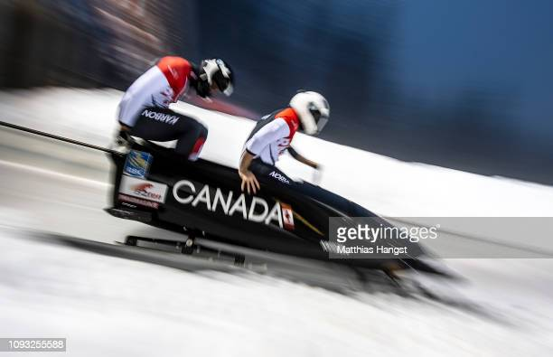 Justin Kripps and Cameron Stones of Canadacompete during the BMW IBSF Men's 2Man Bobsleigh World Cup and European Championships at Deutsche Post...
