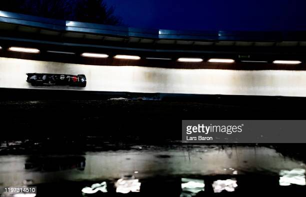 Justin Kripps Benjamin Coakwell Ryan Sommer and Cameron Stones of Canada compete during the BMW IBSF Bobsleight World Cup at Veltins EisArena on...