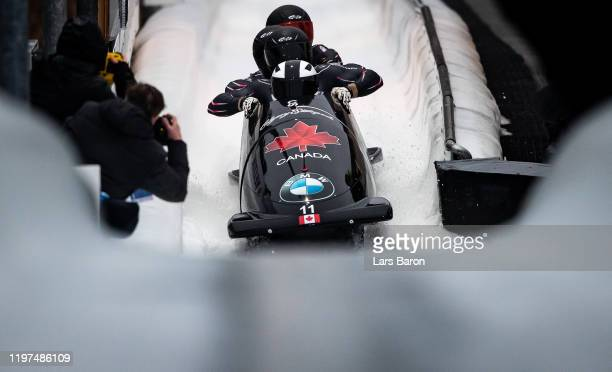 Justin Kripps, Benjamin Coakwell, Ryan Sommer and Cameron Stones of Canada are seen after the European Championships during the BMW IBSF Women's...