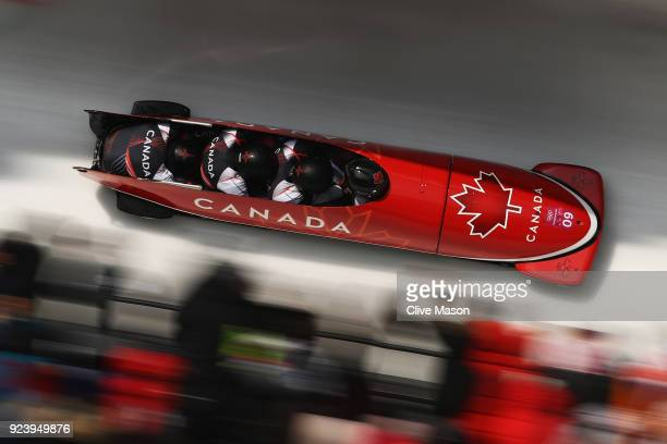 Justin Kripps Jesse Lumsden Alexander Kopacz and Oluseyi Smith of Canada make a final run during the 4man Boblseigh Heats on day sixteen of the...
