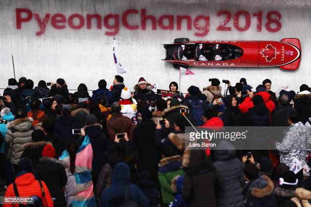 Justin Kripps Jesse Lumsden Alexander Kopacz and Oluseyi Smith of Canada compete during 4man Bobsleigh Heats on day fifteen of the PyeongChang 2018...