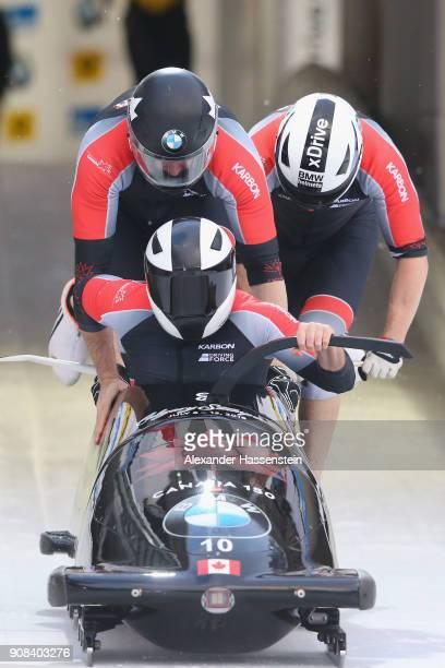 Justin Kripps of Canada Alexander Kopacz Jesse Lumsden and Oluseyi Smith competes at Deutsche Post Eisarena Koenigssee during the BMW IBSF World Cup...