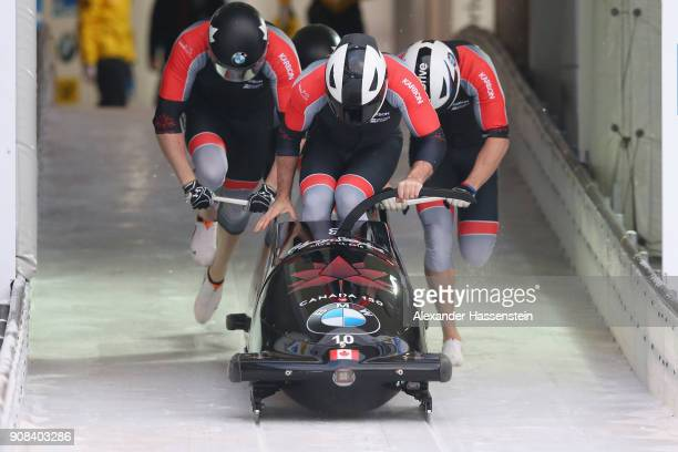 Justin Kripps of Canada Alexander Kopacz Jesse Lumsden and Oluseyi Smith competes at Deutsche Post Eisarena Koenigssee during the BMW IBSF World Cup...