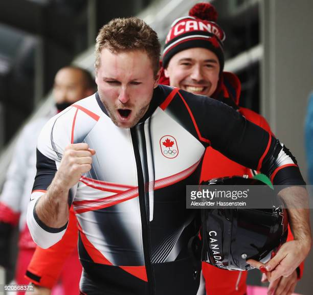 Justin Kripps of Canada celebrates winning joint gold after the Men's 2Man Bobsleigh on day 10 of the PyeongChang 2018 Winter Olympic Games at...