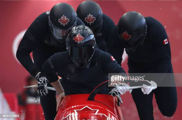 Justin Kripps of Canada pilots his sled during 4man Bobsleigh training on day 14 of the Pyeongchang 2018 Winter Olympics on February 23 2018 in...