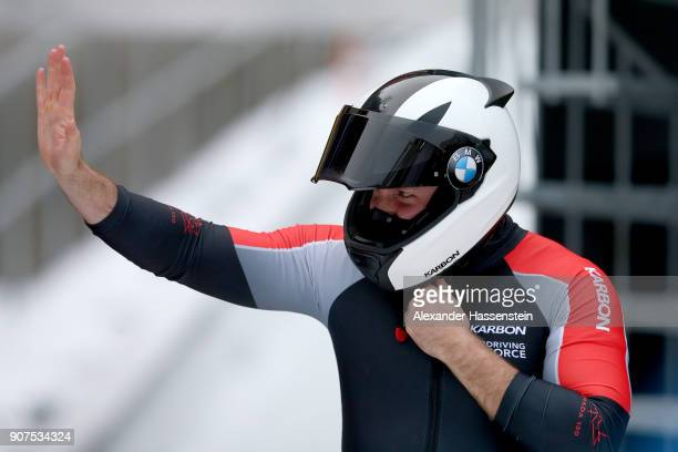 Justin Kripps of Canada reacts at Deutsche Post Eisarena Koenigssee after the BMW IBSF World Cup twoman Bobsleigh World Cup on January 19 2018 in...