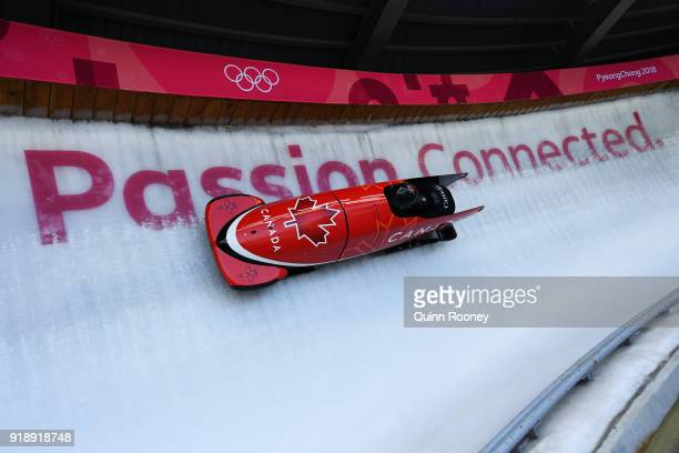 Justin Kripps of Canada slides during the Men's Bobsleigh training at Olympic Sliding Centre on February 16 2018 in Pyeongchanggun South Korea
