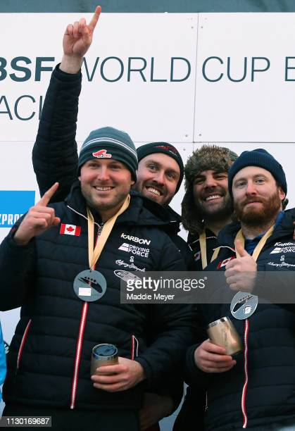 Justin Kripps Ryan Sommer Cameron Stones and Benjamin Coakwell of Canada celebrate during the medal ceremony for the 4man bobsleigh competition on...