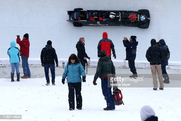 Justin Kripps Ryan Sommer Cameron Stones and Benjamin Coakwell of Canada compete during the first run of the 4man bobsleigh competition on day 2 of...