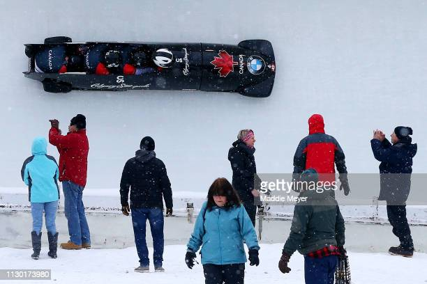 Justin Kripps Ryan Sommer Cameron Stones and Benjamin Coakwell of Canada slide during the first run of the 4man bobsleigh competition on day 2 of the...