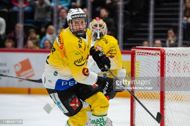 Justin Krueger of SC Bern in action during the Swiss National League game between Lausanne HC and SC Bern at Vaudoise Arena on November 1, 2019 in...