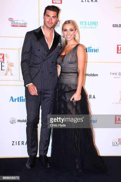 Justin Lacko and Cassidy McGill arrive at the 60th Annual Logie Awards at The Star Gold Coast on July 1 2018 in Gold Coast Australia