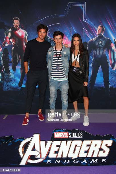 Justin Lacko Harvey Petito and Paris Bishop pose ahead of the special screening of Marvel Studios' Avengers: Endgame at IMAX Melbourne Museum on...