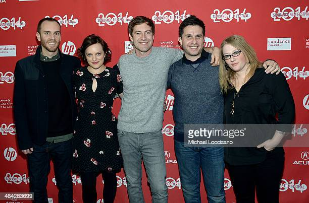 Justin Lader Elisabeth Moss Mark Duplass Charlie McDowell and Mel Eslyn attend the premiere of The One I Love at The Marc Theatre during the 2014...