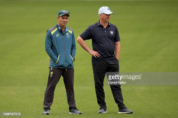 Justin Langer coach of Australia and Steve Waugh look on during an Australian nets session at Adelaide Oval on December 4 2018 in Adelaide Australia