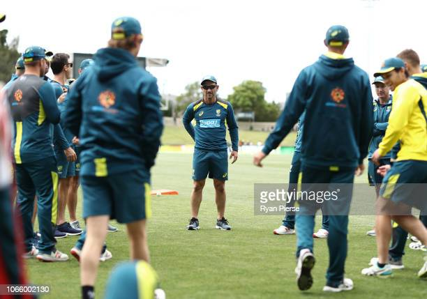 Justin Langer coach of Australia looks on during game three of the One Day International series between Australia and South Africa at Blundstone...