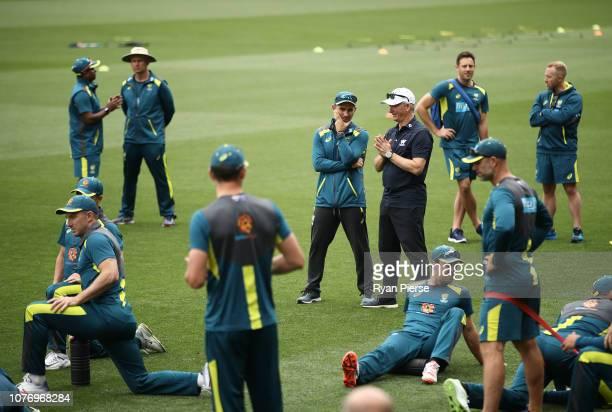 Justin Langer coach of Australia speaks to former Australian Captain Steve Waugh during an Australian nets session at Adelaide Oval on December 04...