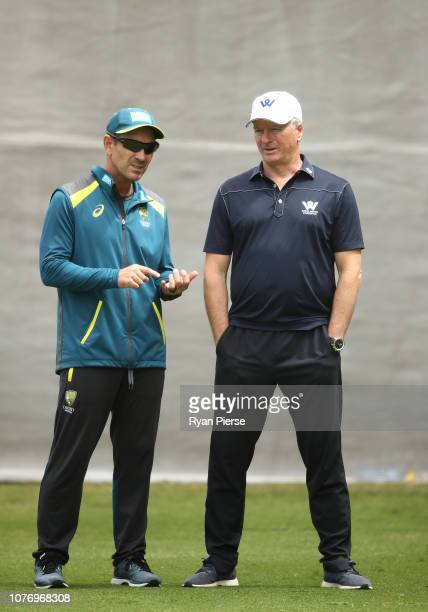 Justin Langer coach of Australia speaks to former Australian Captain Steve Waugh during an Australian nets session at Adelaide Oval on December 04...