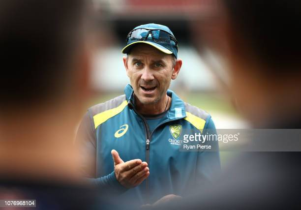 Justin Langer coach of Australia speaks to his players during an Australian nets session at Adelaide Oval on December 04 2018 in Adelaide Australia