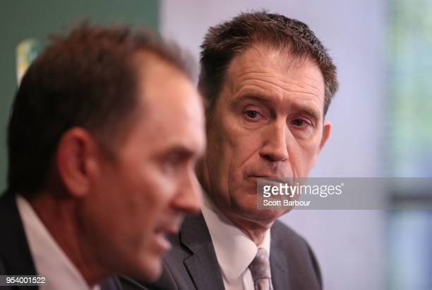 Justin Langer coach of Australia speaks to the media as Cricket Australia CEO James Sutherland looks on during a press conference on May 3 2018 in...