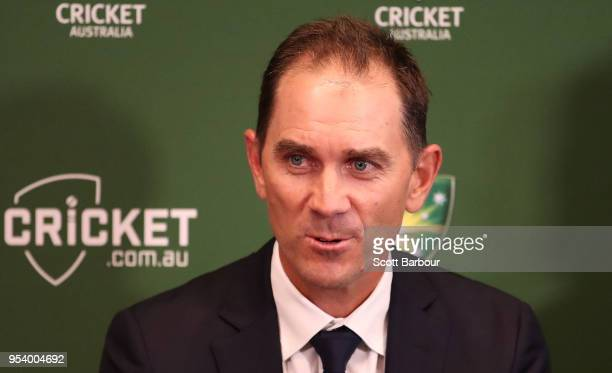 Justin Langer coach of Australia speaks to the media during a press conference on May 3 2018 in Melbourne Australia Langer has been appointed the...