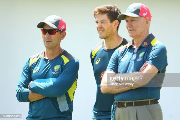 Justin Langer coach of Australia Tim Paine of Australia and Australian Selector Greg Chappell look on during an Australian nets session at the Sydney...