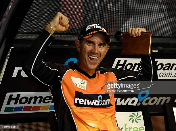 Justin Langer coach of the Scorchers celebrates winning the Big Bash League match between the Perth Scorchers and the Sydney Sixers at WACA on...