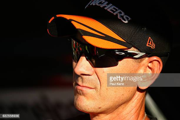 Justin Langer coach of the Scorchers looks on during the Big Bash League match between the Perth Scorchers and the Melbourne Stars at the WACA on...