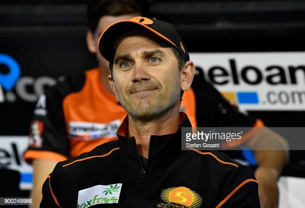 Justin Langer coach of the Scorchers looks on during the Big Bash League match between the Perth Scorchers and the Sydney Sixers at WACA on January 1...