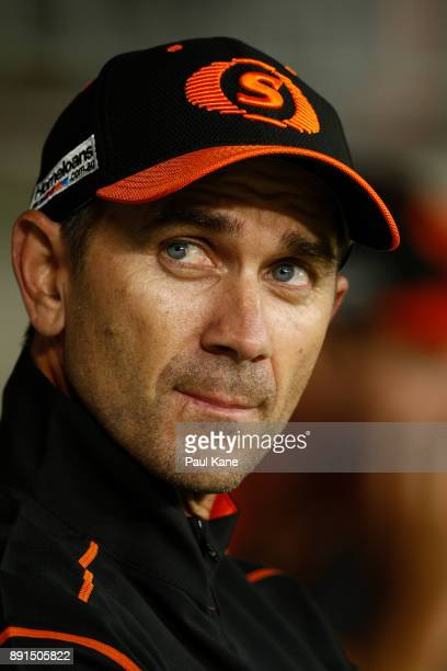 Justin Langer coach of the Scorchers looks on during the Twenty20 match between the Perth Scorchers and England Lions at Optus Stadium on December 13...